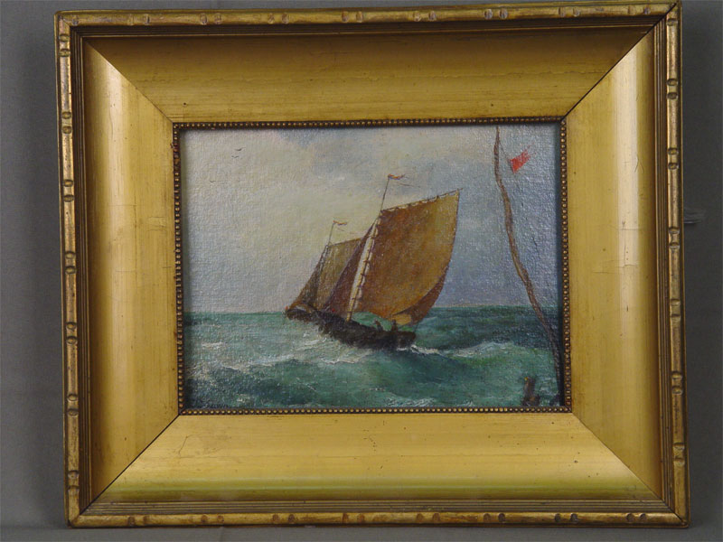 J.Moam, «Парусник», картон, масло, конец XIXвека, размер картины: 23,3×32см, рама