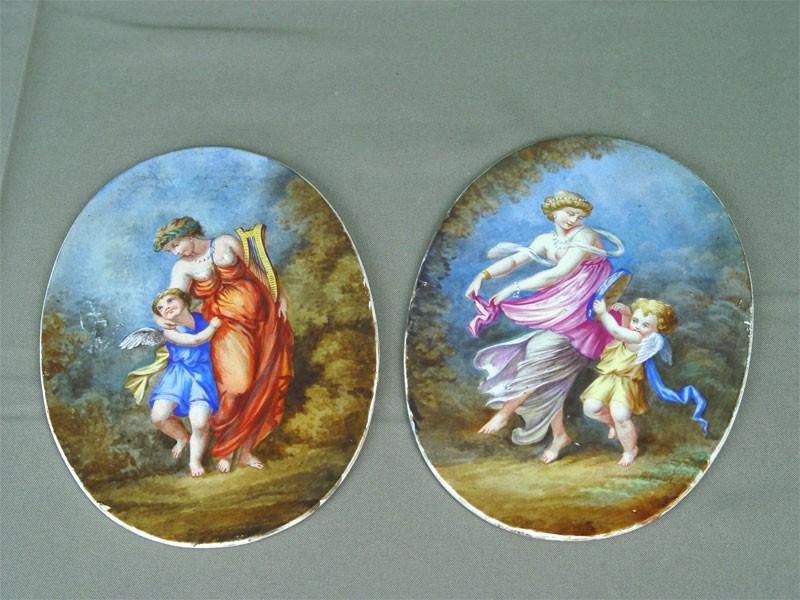 Пара плакеток, фарфор, роспись надглазурная. Западная Европа, XIXвек, длина— 18,5см