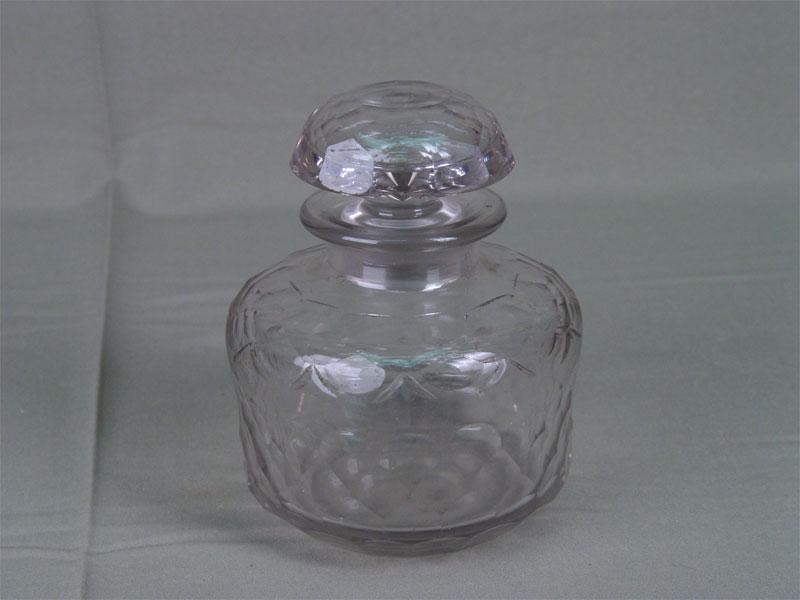 Чайница, стекло, шлифовка, резьба. Россия, XIXвек, высота— 17см