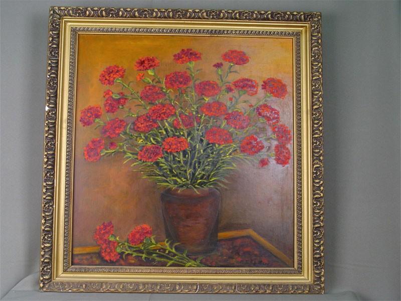 Г.Боровых, «Букет гвоздик», холст, масло. XXвек, размер: 60×50см