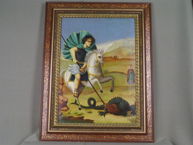 Неизвестный художник, «Георгий Победоносец», холст, масло. XIXвек, размер: 56,5×40см