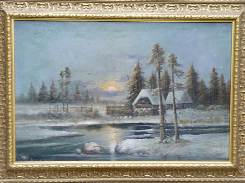 Антиквариат. клевер, зима, пейзаж, ночь, река, закат, домики
