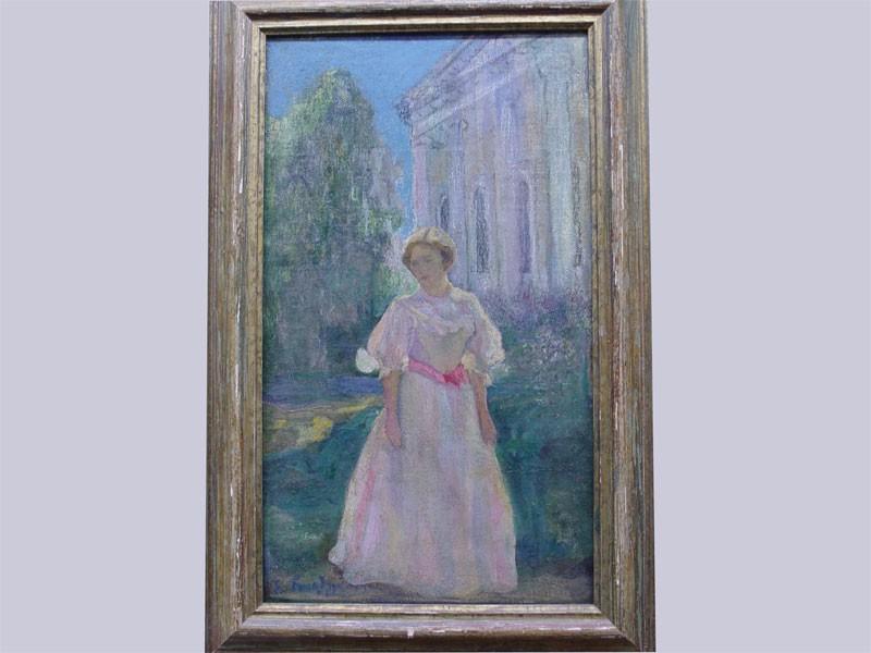Е.Гольдингер «Девушка вбелом», холст, масло. Начало XXвека, размер: 61×35,5см