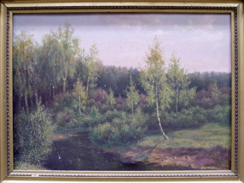 Неизвестный художник, «Лесная речка», холст, масло, конец XIX— начало XXвека, размер: 39,5×57см
