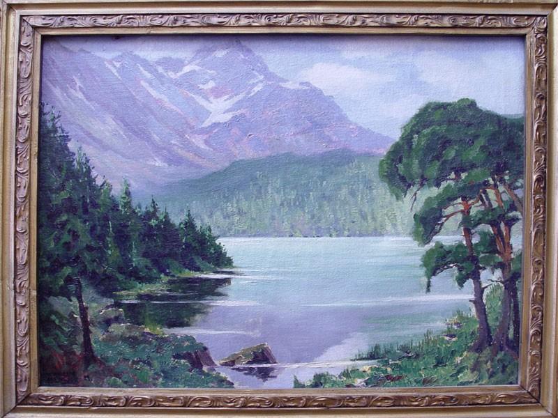 Неизвестный художник, «Горное озеро», холст, масло, начало XXвека, размер (вокне): 54×67см
