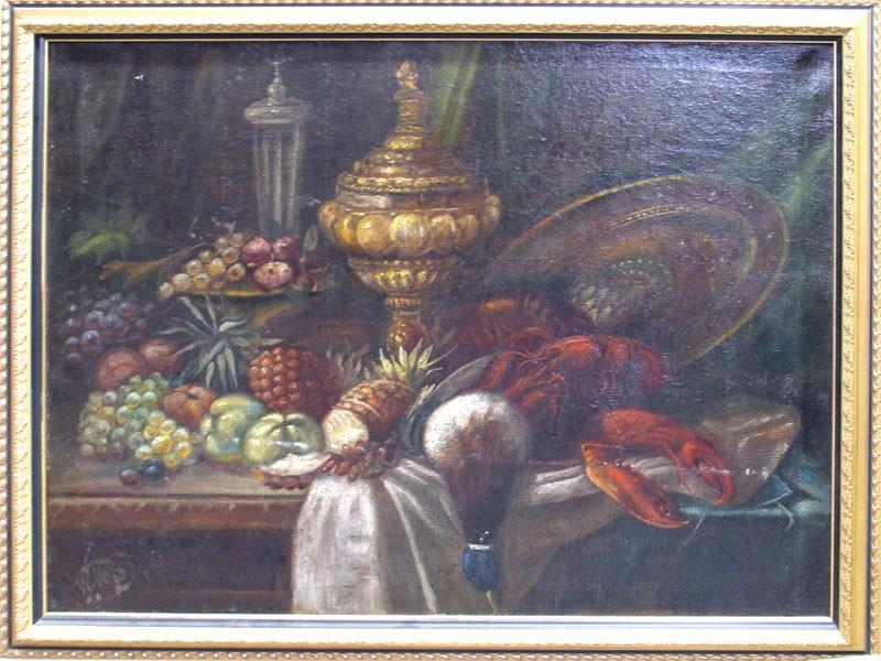 Неизвестный художник, «Натюрморт сомаром», холст, масло, XXвек, размер: 71×90см