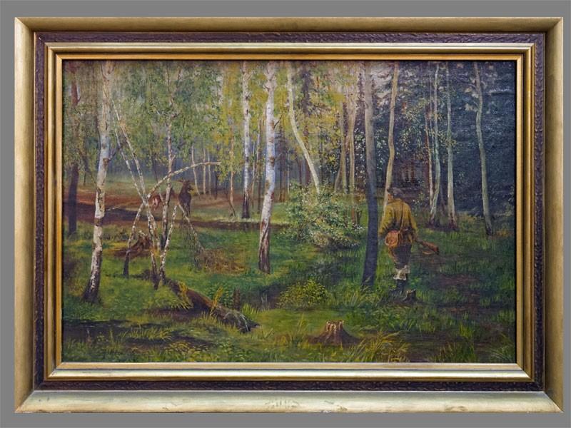 Астахов, «Охота налося», холст, масло. Россия, XXвек, размер: 60×89,5см