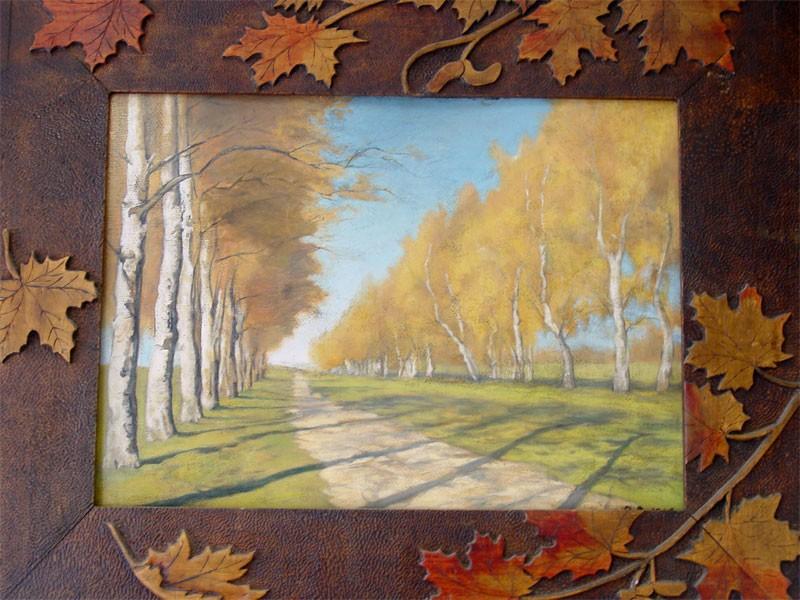 Неизвестный художник, «Березы», картон, масло, начало XXвека, размер: 45×60,5см
