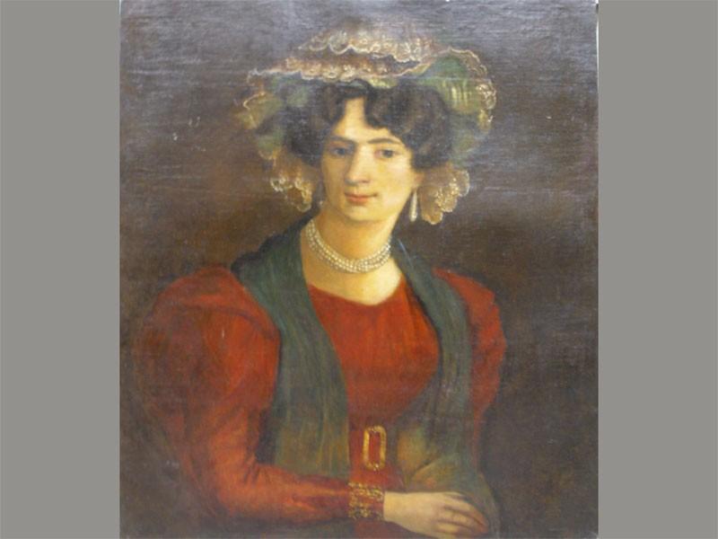 Неизвестный художник, «Портрет неизвестной дамы», холст, масло, XIXвек, размер: 74×62см