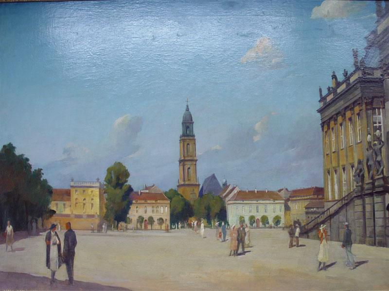 Неизвестный художник, «Площадь», холст, масло, 1930—<nobr>1940-е</nobr>гг, размер: 75,2×125,3см