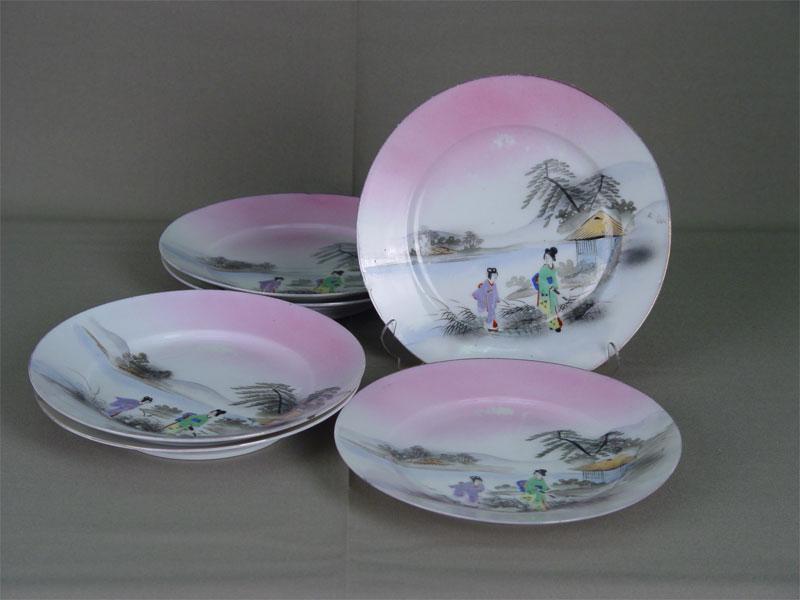 Тарелки десертные, 6шт., фарфор, роспись надглазурная. Япония, XXв., диаметр— 18см