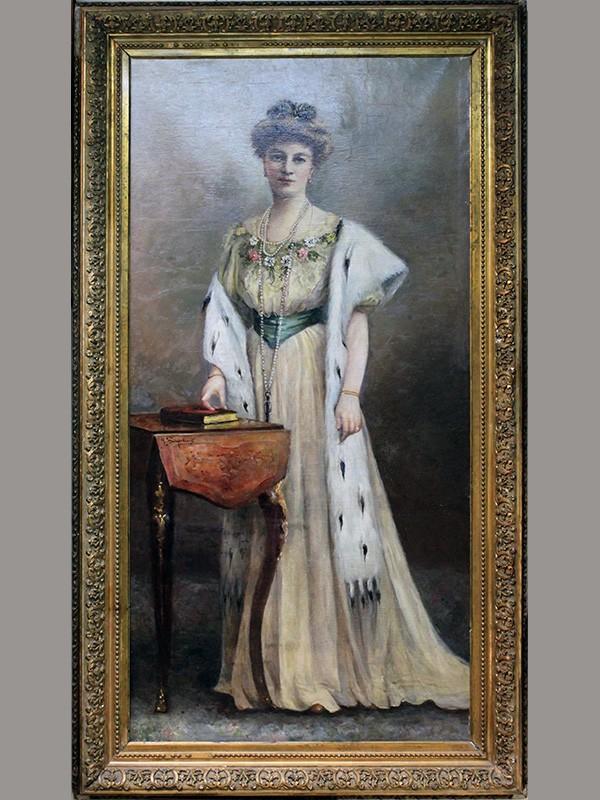 Н.К.Бодаревский (1850—1921), «Портрет неизвестной дамы», холст, масло. Россия, <nobr>1900—1910-е</nobr>гг, размер: 161×81см