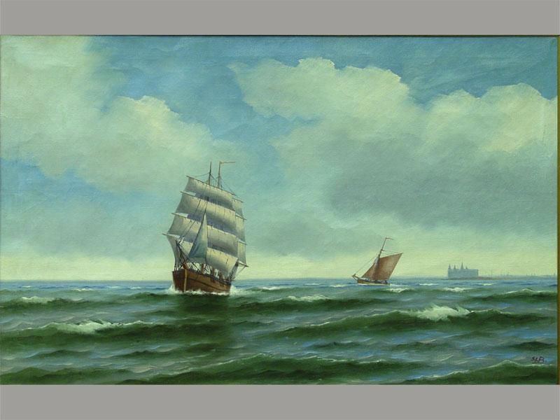 Неизвестный художник, «Морской пейзаж», холст, масло. Западная Европа, конец XIX— начало XXвека, размер: 67×97см