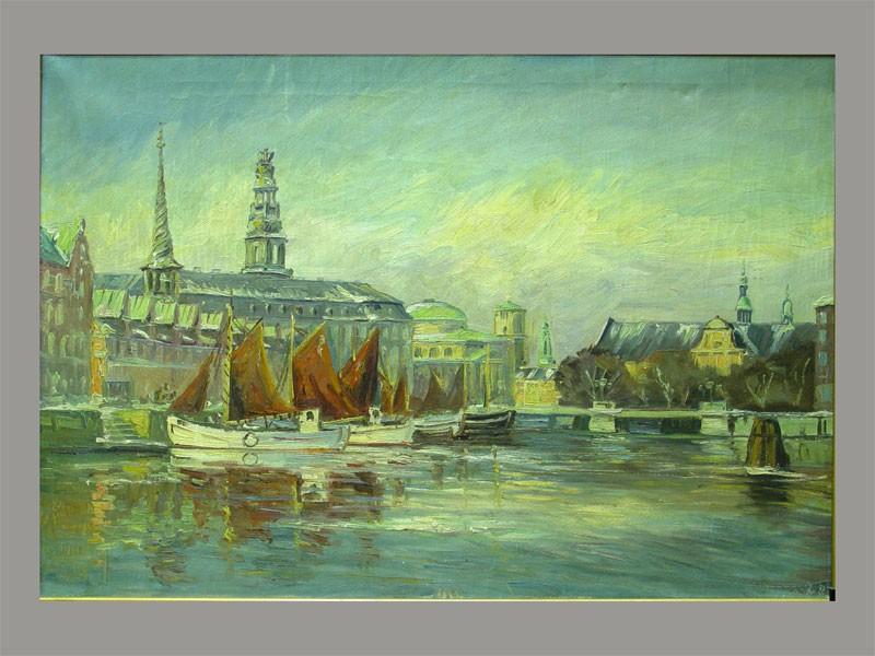 Неизвестный художник, «Городской причал», холст, масло. Западная Европа, 1930-е гг, размер: 66,5×96см