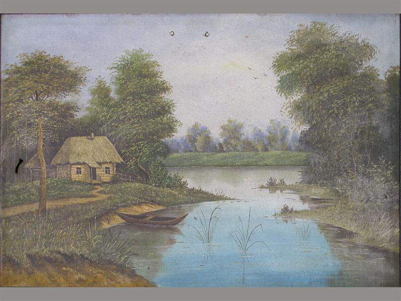 Антиквариат. E.Jonsen «Хата», картон, масло, кон.19в. Антикварная живопись