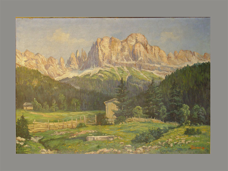 C.Klimps, «Альпийский пейзаж», холст, масло. Западная Европа, 1920—1930-егг, размер: 69×99см