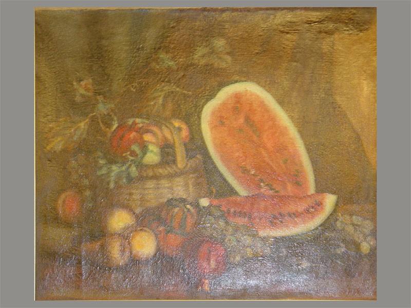 Неизвестный художник, «Натюрморт сарбузом», холст, масло, начало XXвека, размер: 55×64,5см