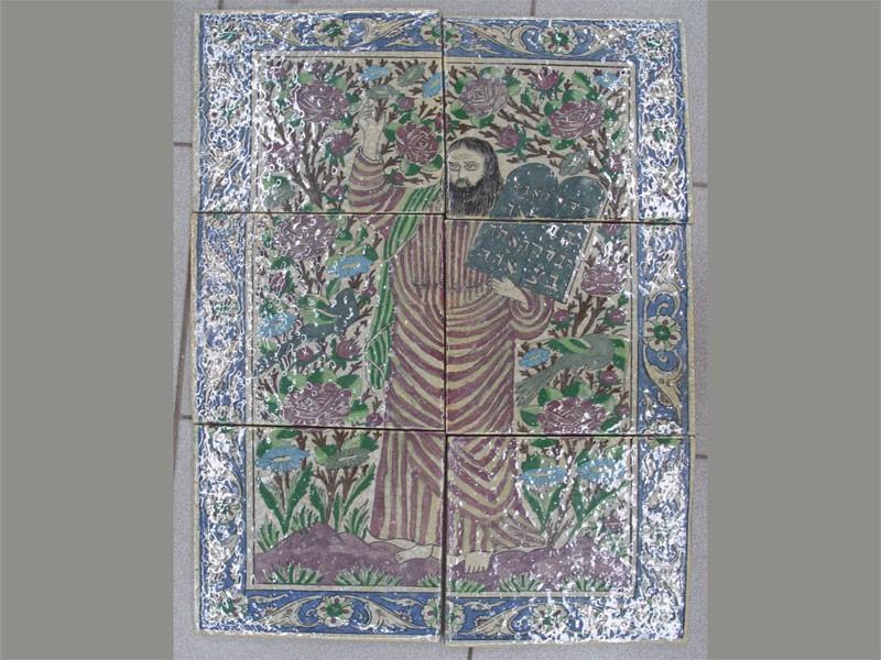 Панно «Моисей», керамическая плитка, роспись, 6фрагментов. XXв., 70,5×47,5см