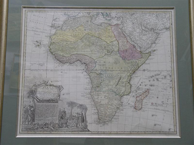 Карта Африки, бумага, гравюра, ручная раскраска. Западная Европа, 1737г, 48×57см вокне, рама, стекло.