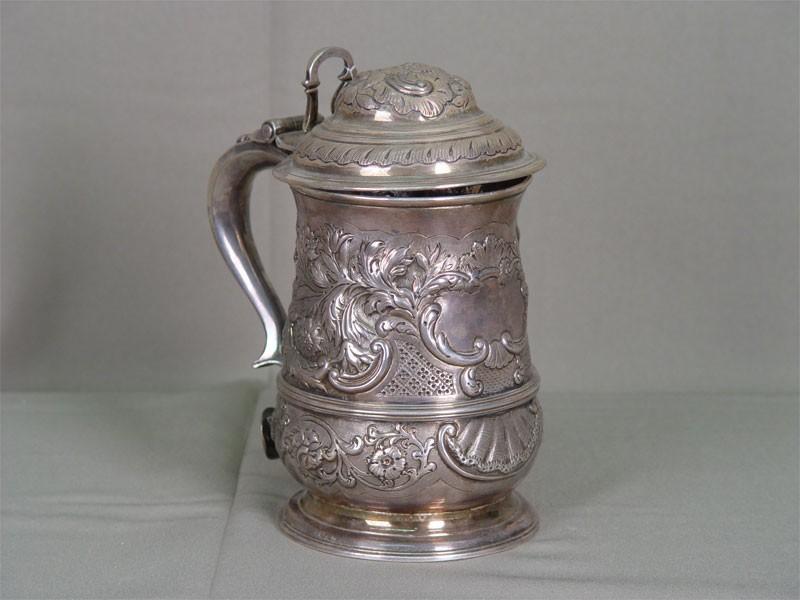 Антиквариат. антикварная кружка, пиво, пивная, алкоголь, серебро, англия, великобритания, 19 век, посуда
