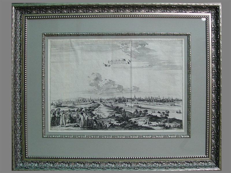 «Великий Новгород», бумага, гравюра, начало XVIIIвека, изиздания «Путешествие Олеария поРоссии», размер (вокне): 29×41см, стекло, рама.
