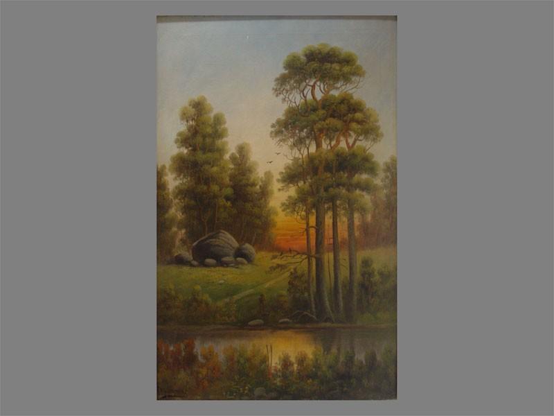 Писоттин, «Закат влесу», холст, масло, начало XXвека, размер: 88×55см