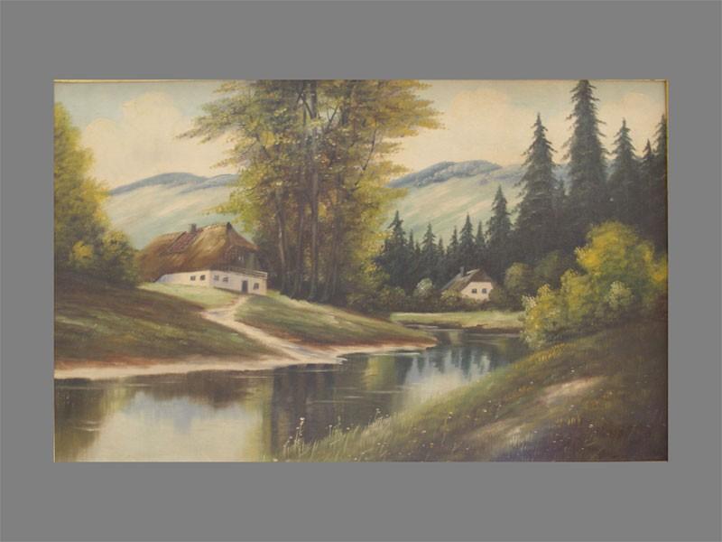 Антиквариат. Н.Х. «Деревенский пейзаж»