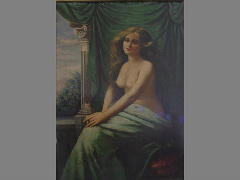 Неизвестный художник, «Обнаженная», картон, масло, начало XXвека, размер: 70×48,5см