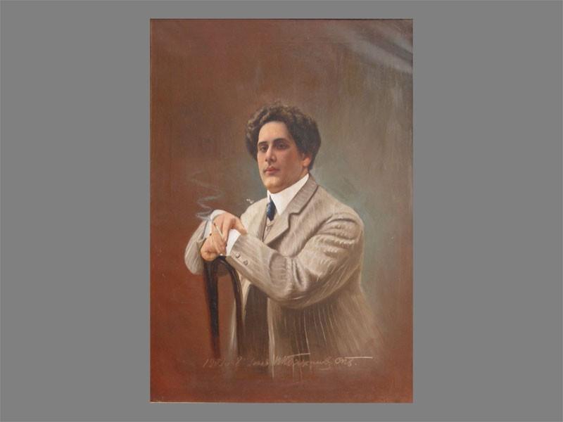 Бажанев(?), «Мужской портрет», холст, масло, начало XXвека, размер: 107×80см