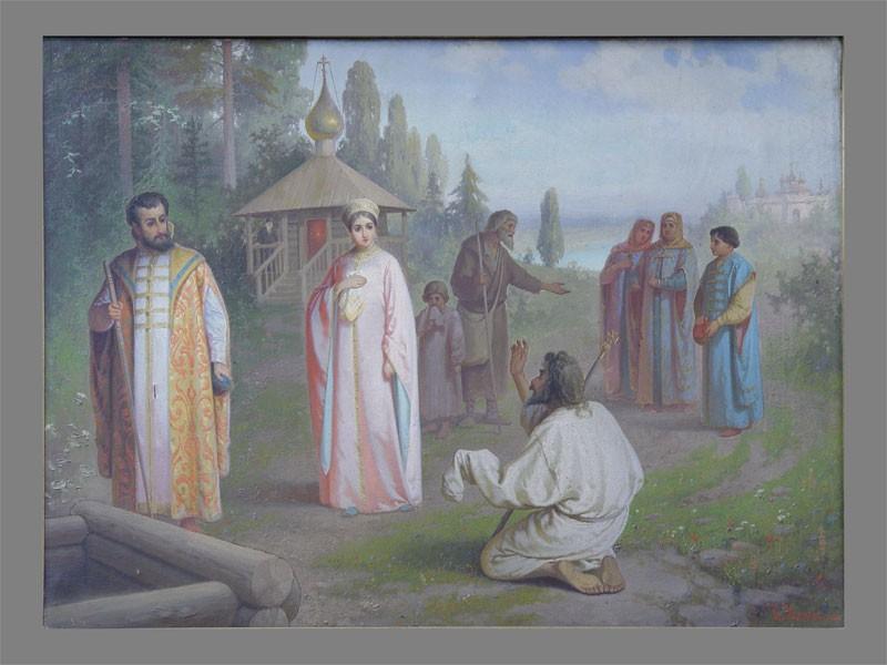 К.Иванов «Предсказание Борису Годунову», холст, масло, 1906год, размер: 67×90см