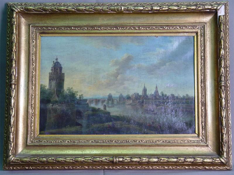 Неизвестный художник, «Башня имост», холст, масло. Западная Европа, XIXвек, размер (вокне): 24×36см