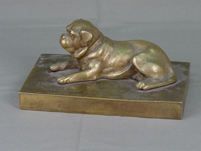 Скульптура «Собака мастиф», бронза, литье, чеканка. Россия, начало XXвека, 10,5×17,5высота— 9см