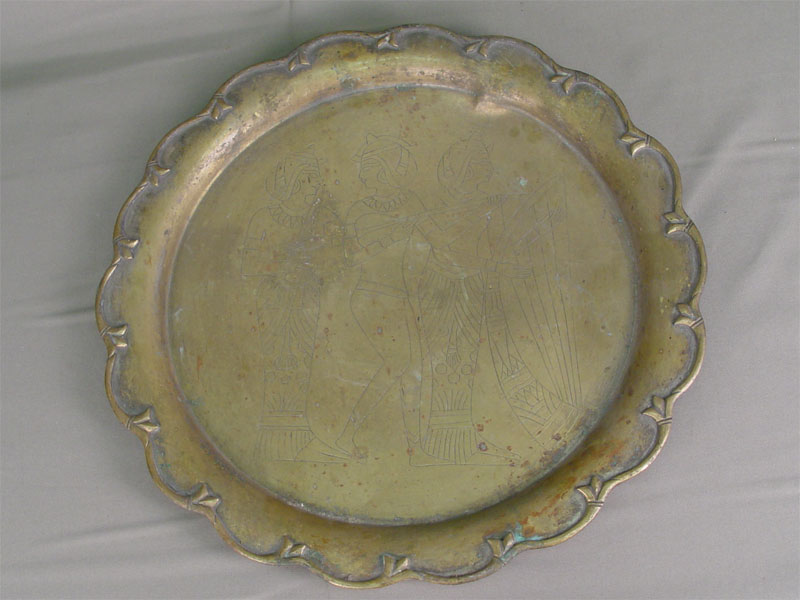 Поднос, латунь, гравировка. Индия, XXв., диаметр— 40см