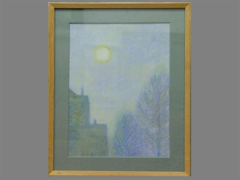 Антиквариат. Проскурякова Е. «Солнце над городом», картон, пастель, 1950-е гг. Продажа антикварных картин