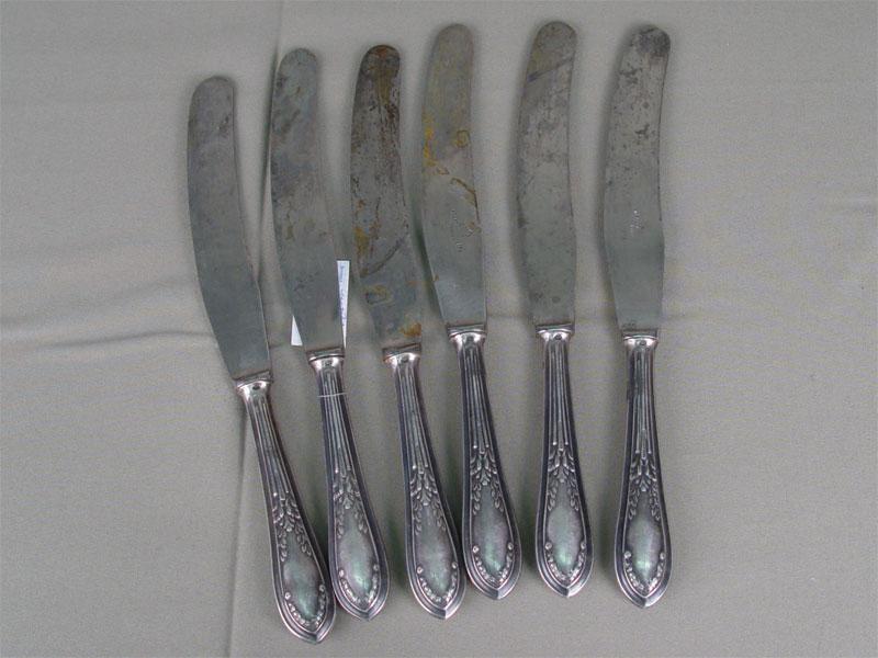 Шесть столовых ножей, серебро 875пробы, сталь. Россия, середина XXвека, общий вес— 530г