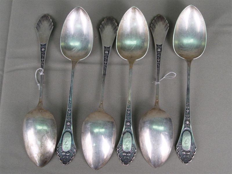 Шесть столовых ложек, серебро 875пробы. Прибалтика, начало XXвека, общий вес— 385гр.