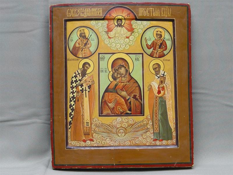 Икона «Образ Пресвятой Богородицы Владимирской спредстоящими», дерево, левкас, темпера. Живопись новая, размер: 35×30см