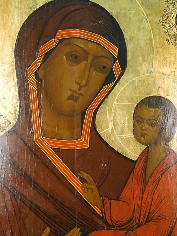 Икона «Пресвятая Богородица Тихвинская», дерево, левкас, темпера. Россия, XIXвек, размер: 89×65см