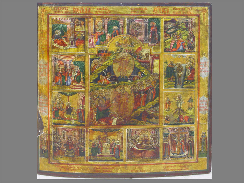 Икона «Праздники», дерево, левкас, темпера. Россия, XIXвек, размер: 75×62см