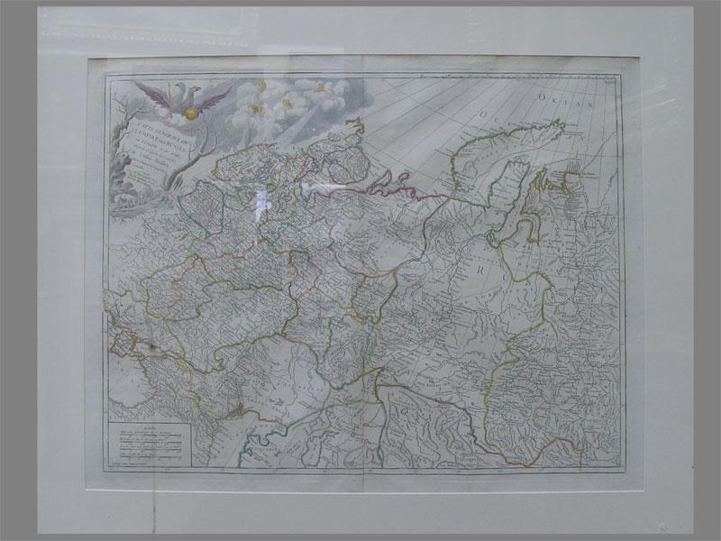 Антиквариат. «Карта России 18в.», бумага, раскрашенная гравюра
