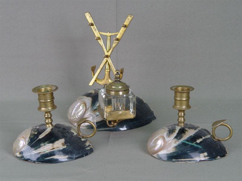 Письменный прибор из3-х предметов, раковины, бронза. Россия, конец XIX— начало XXвека, h max=18см