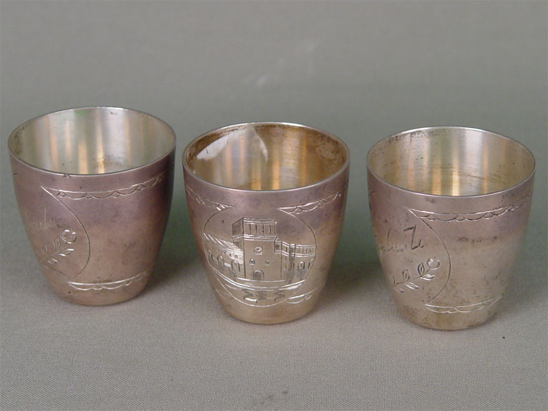 Три стопки, серебро 875пробы,106гр. гравировка. Россия, середина XXвека, высота— 4,5см