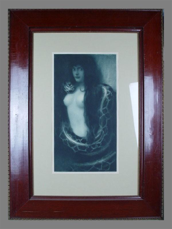 Антиквариат. Franz Stuck, «Грех», бумага, гравюра. Продажа антикварных гравюр