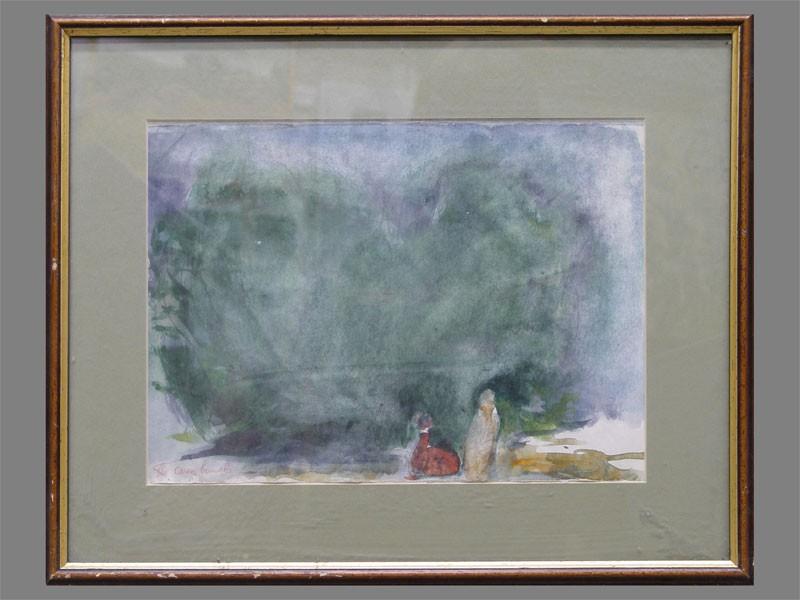 А.Слепышев, «Двое», бумага, акварель, 25×30см, 1960-е гг.