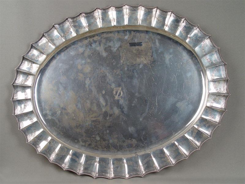 Антиквариат. антикварный поднос, посуда, серебро, гравировка, Европа, Запад, 19 век, 20 век, овальный, овал, 2080