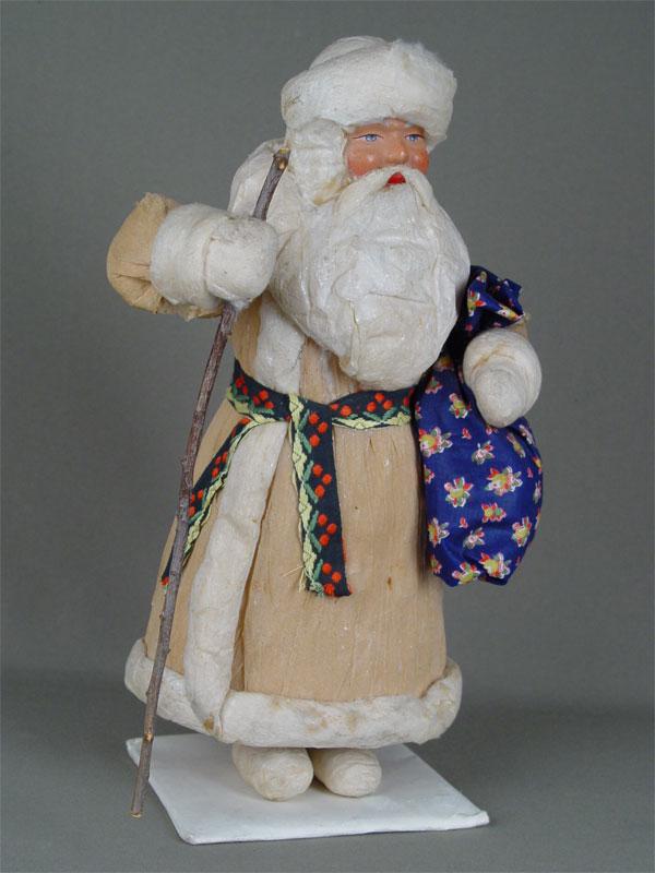 Дед Мороз, картон, вата, бумага. Россия, 1950-егг, высота— 34см