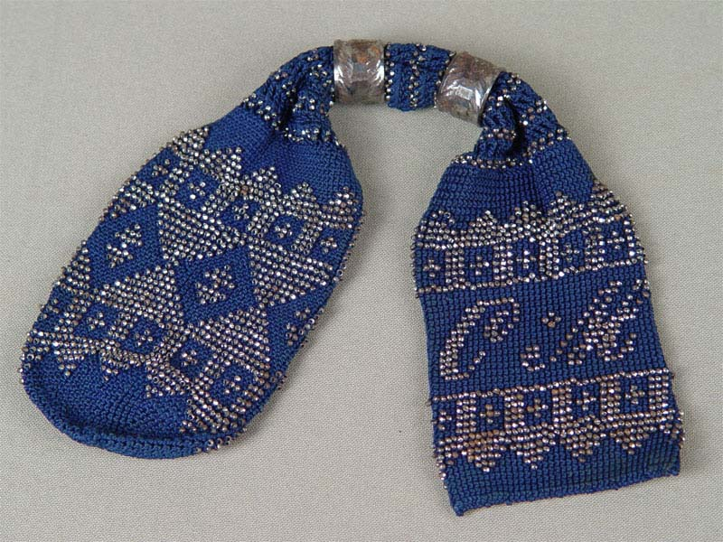 Кошелек, вязание крючком, вышивка бисером. Россия, XIXв.