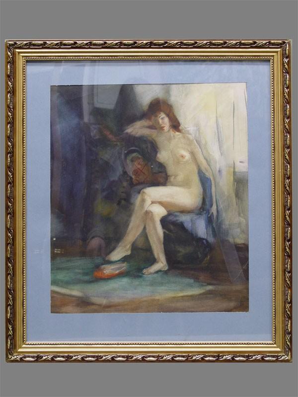 Неизвестный художник, «Обнаженная», бумага, акварель, 44×38см