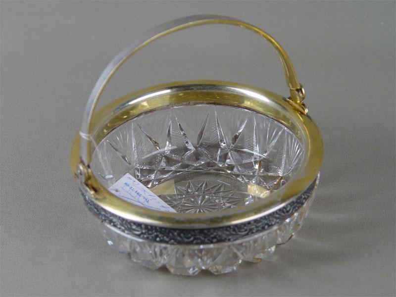 Конфетница, хрусталь, серебро 875пробы, позолота. Россия, середина XXвека, диаметр— 11,7см