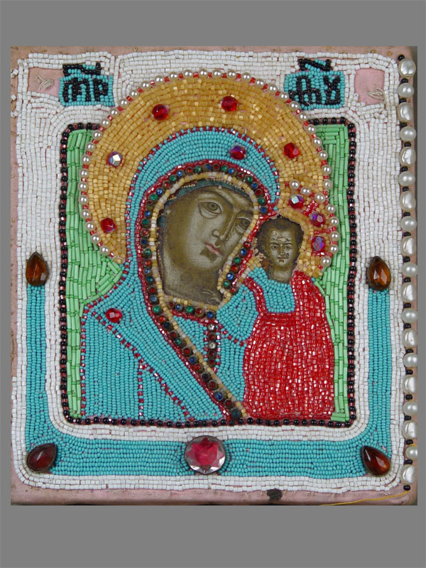 Икона «Пресвятая Богородица Казанская», оклад: бисер, стеклярус, стразы. Россия, начало XXвека, размер: 23×19см